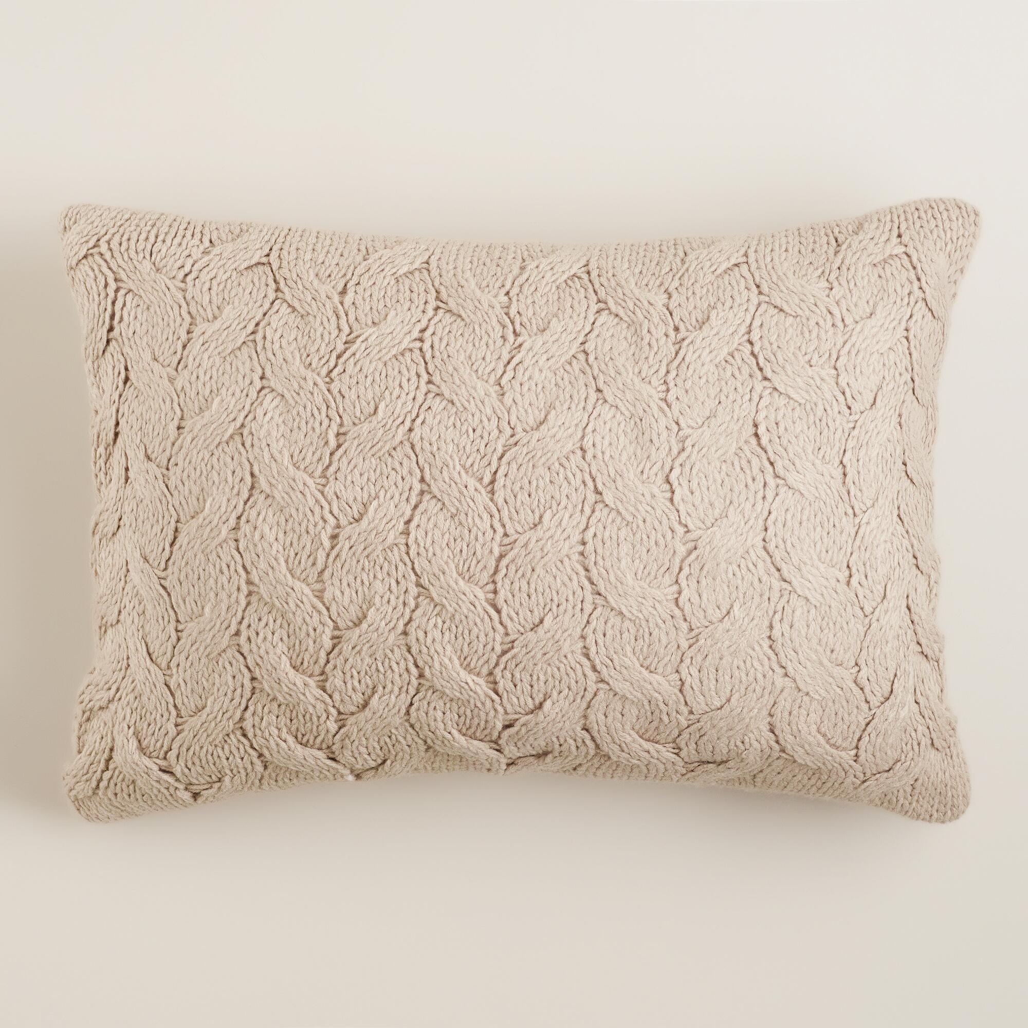 Knitting Pillows : Taupe hand knit lumbar pillow world market