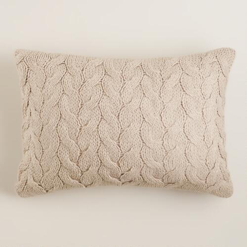 Taupe Hand-Knit Lumbar Pillow
