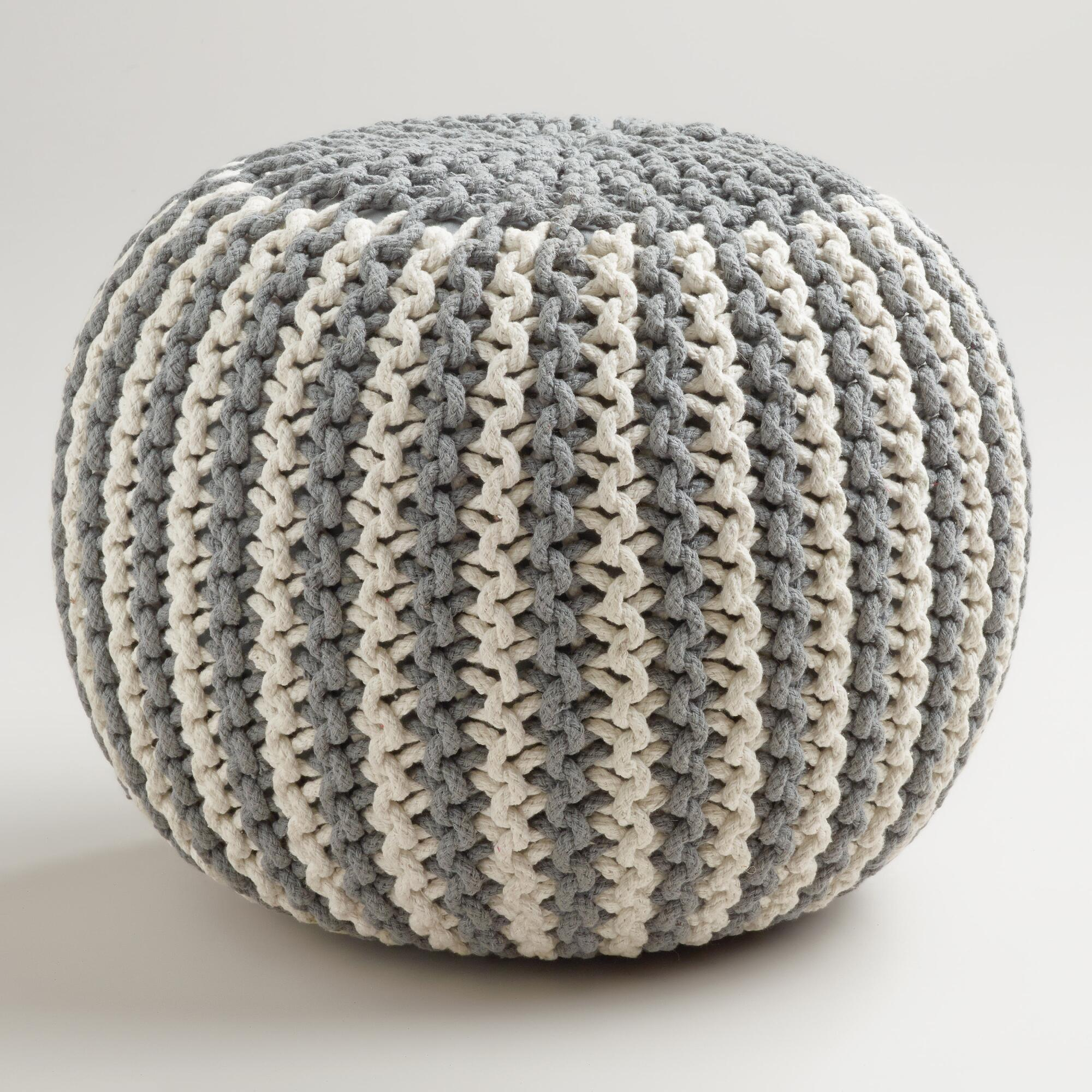 Knitted Ribbing Patterns : Two-Tone Knitted Pouf World Market