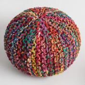 Multicolored Knitted Sari Pouf