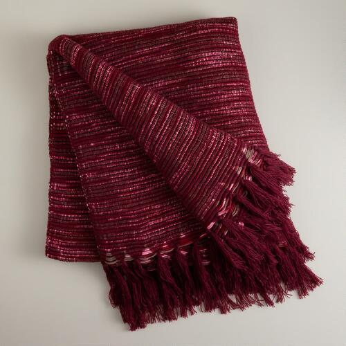 Burgundy Textured Stripe Throw