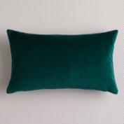 Bistro Green Velvet Lumbar Pillow