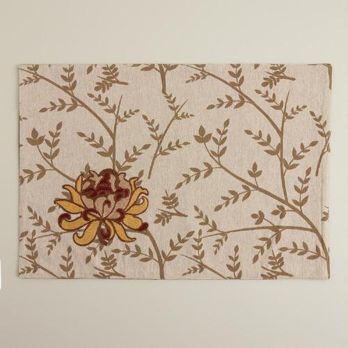 Floral Embroidered Artiste Placemats, Set of 4
