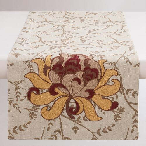 Floral Embroidered Artiste Table Runner