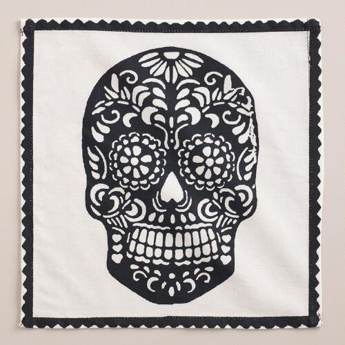 Black Dia de los Muertos Cocktail Napkins, Set of 4