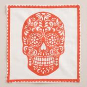 Orange Dia de los Muertos Cocktail Napkins, Set of 4