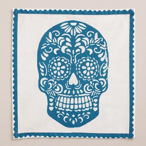 Teal Dia de los Muertos Cocktail Napkins, Set of 4