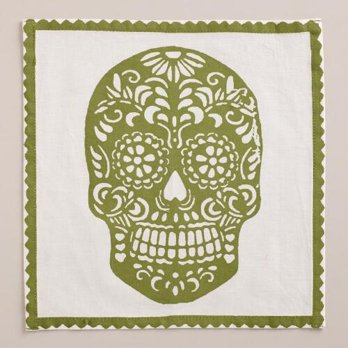 Green Dia de los Muertos Cocktail Napkins, Set of 4
