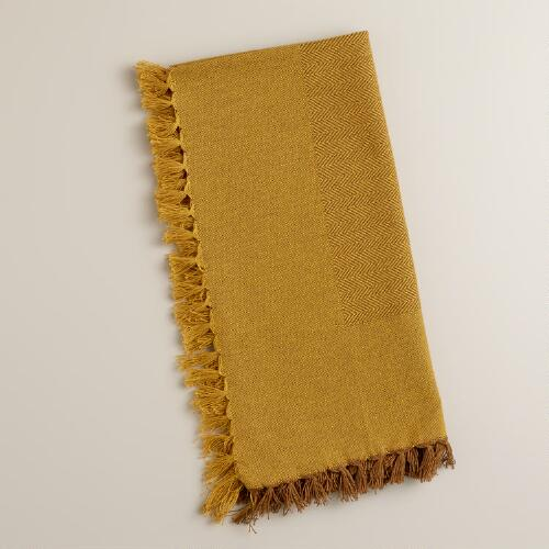 Harvest Gold Herringbone Napkins, Set of 4