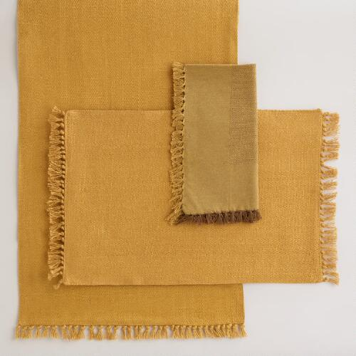 Harvest Gold Herringbone Table Linens Collection