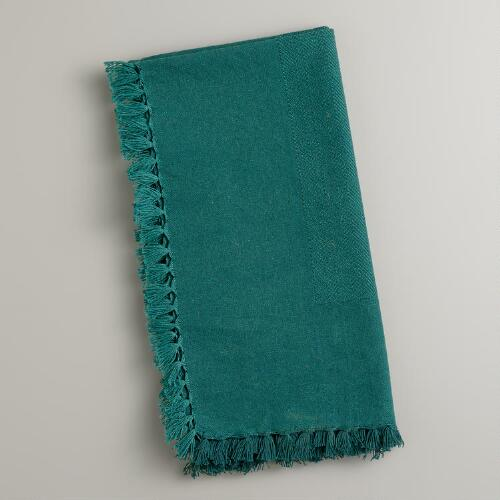 Teal Herringbone Napkins, Set of 4