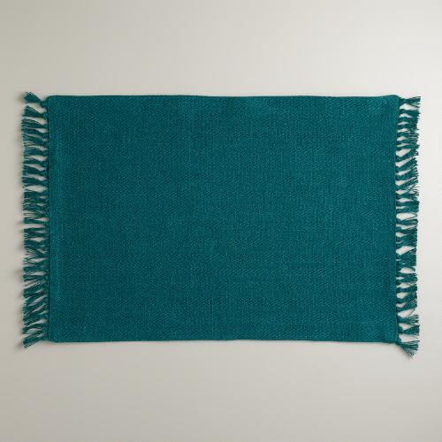 Teal Herringbone Placemats, Set of 4