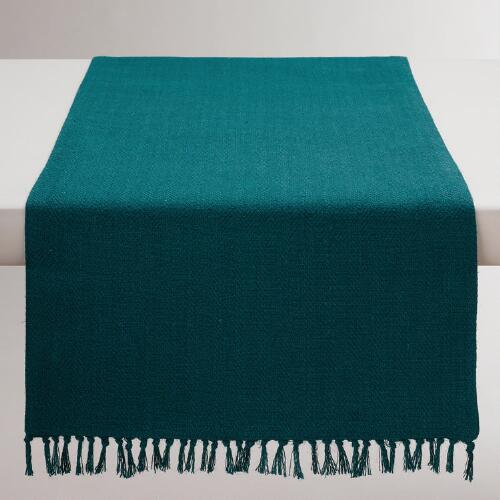 Teal Herringbone Table Runner