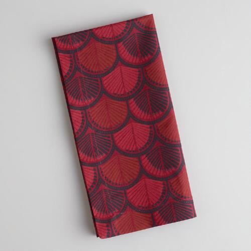 Maroon Print Napkins, Set of 4