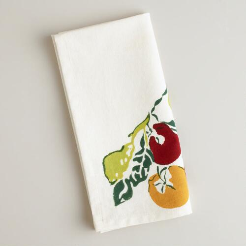 Persimmon Block Print Napkins, Set of 4