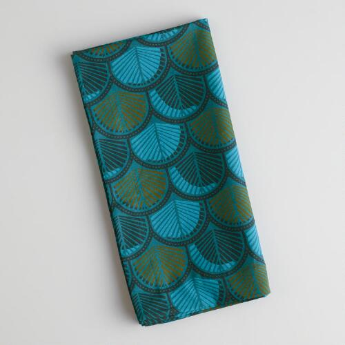 Teal Print Napkins, Set of 4