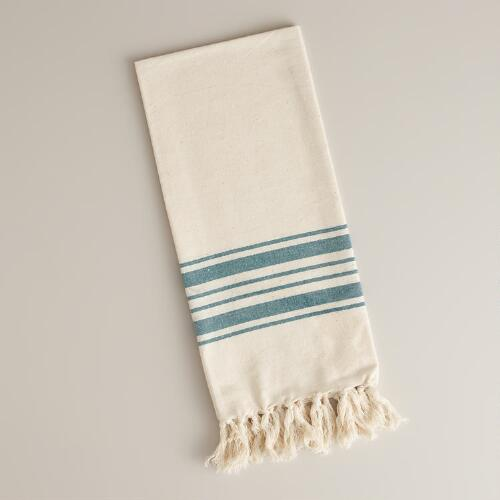 Teal Villa Stripe Kitchen Tea Towel