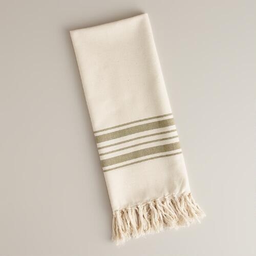 Green Villa Stripe Kitchen Tea Towel