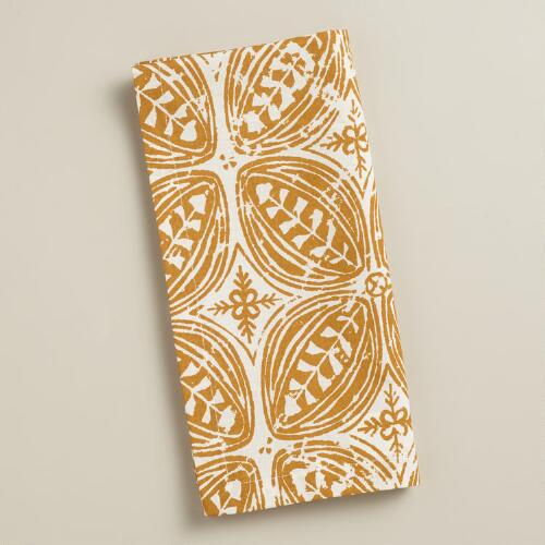 Harvest Gold Batik Leaf Napkins, Set of 4