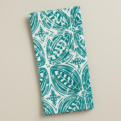 Deep Jungle Batik Leaf Napkins, Set of 4