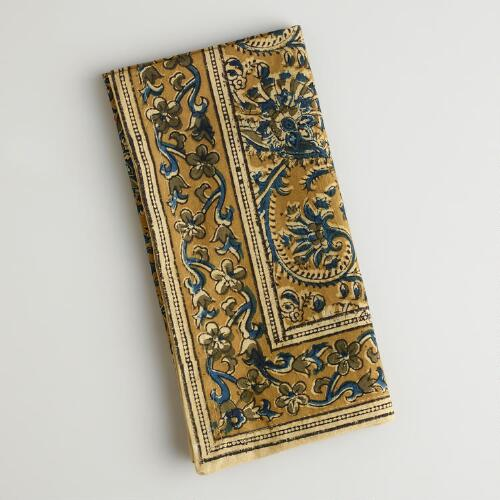 Teal and Gold Kalamkari Napkins, Set of 4