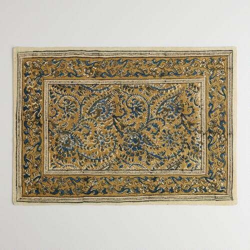 Teal and Gold Kalamkari Placemats, Set of 4