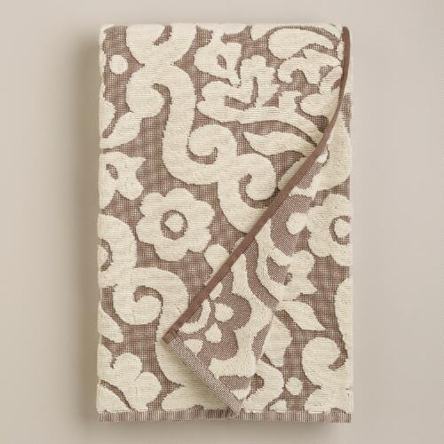 Darlington Sculptural Bath Towel in Taupe