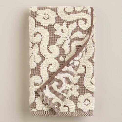 Darlington Sculptural Hand Towel in Taupe