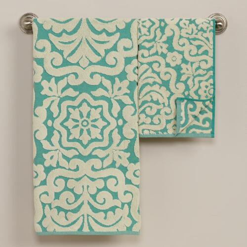 Darlington Sculptural Bath Towel Collection in Beryl Green