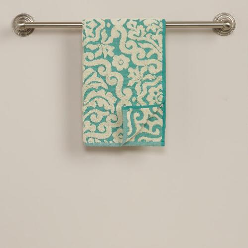Darlington Sculptural Hand Towel in Beryl Green