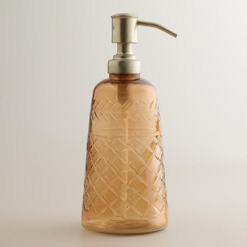 Amber Cut Glass Soap Dispenser