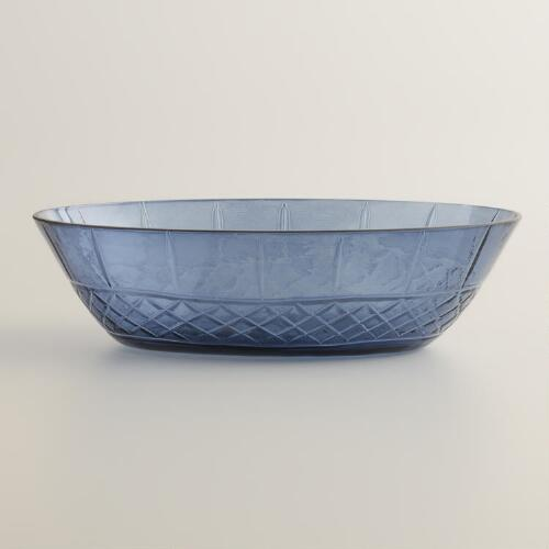 Blue Cut Glass Soap Dish