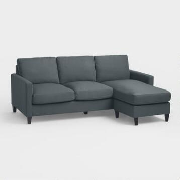 Charcoal Gray Textured Woven Abbott Sofa