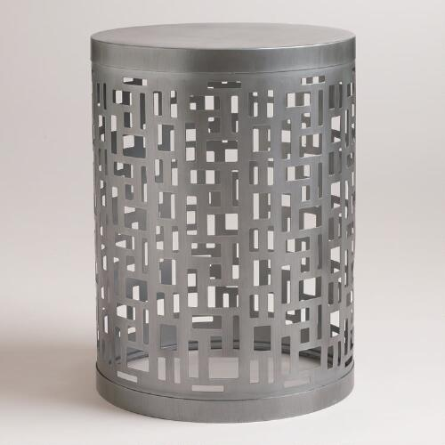 Geometric Metal Drum Table