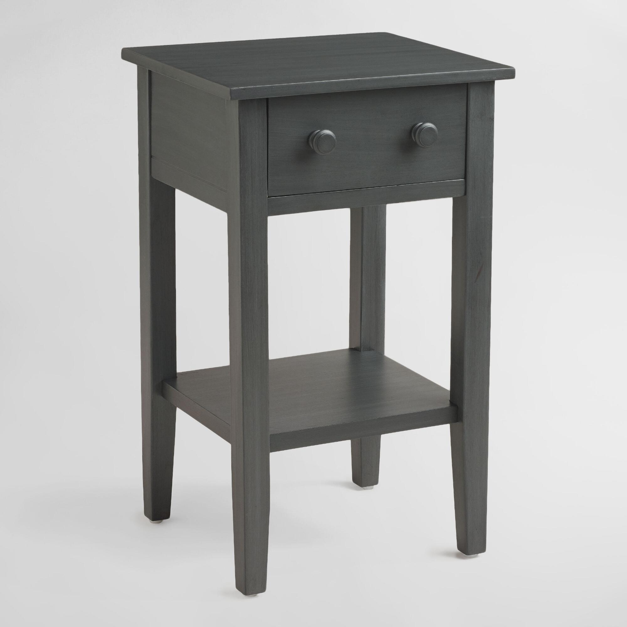 Tobacco blue sara nightstand world market for Narrow bedside table night stand