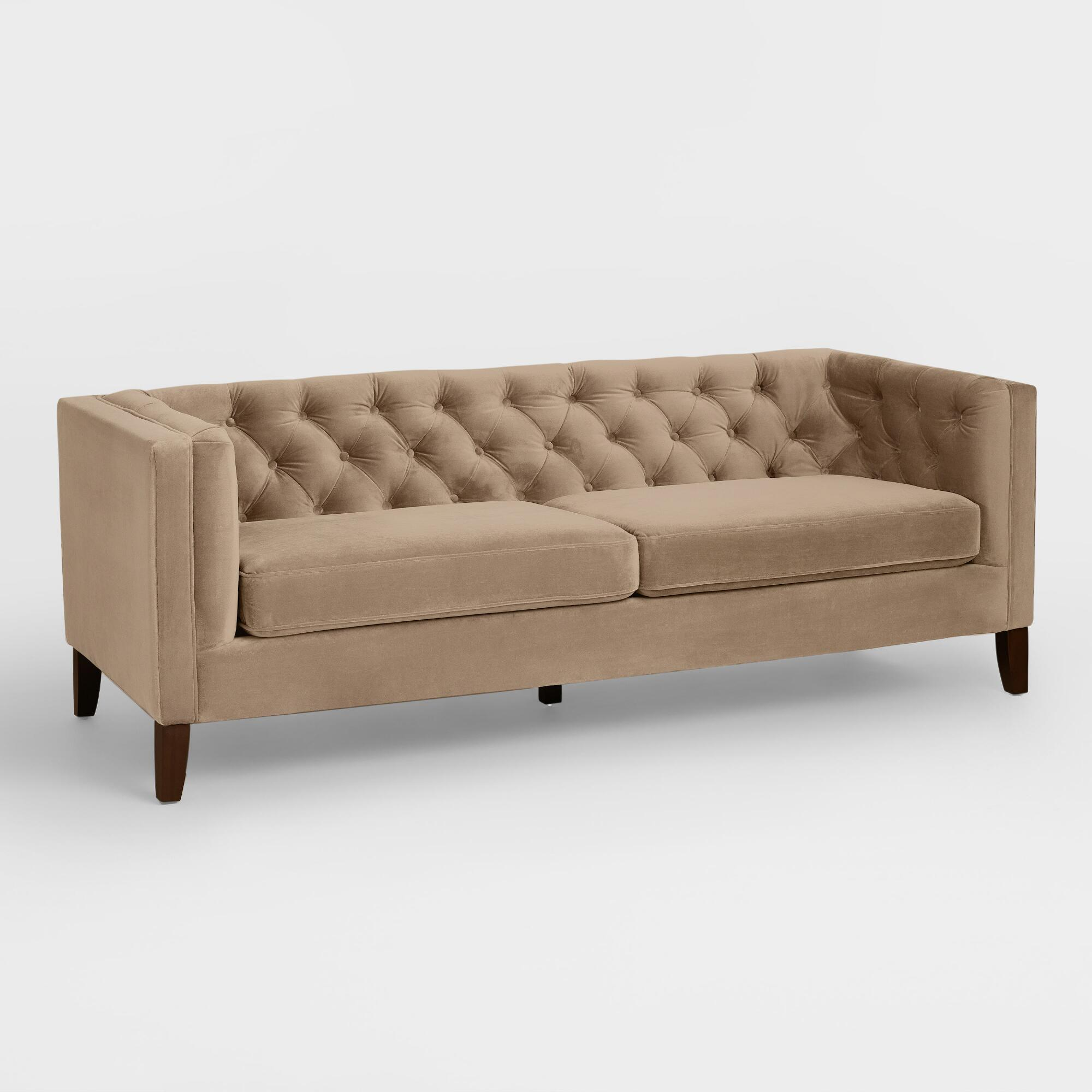 Mushroom Brown Velvet Kendall Sofa World Market