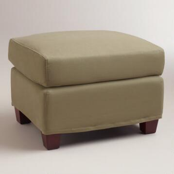 Sage Luxe Ottoman Slipcover