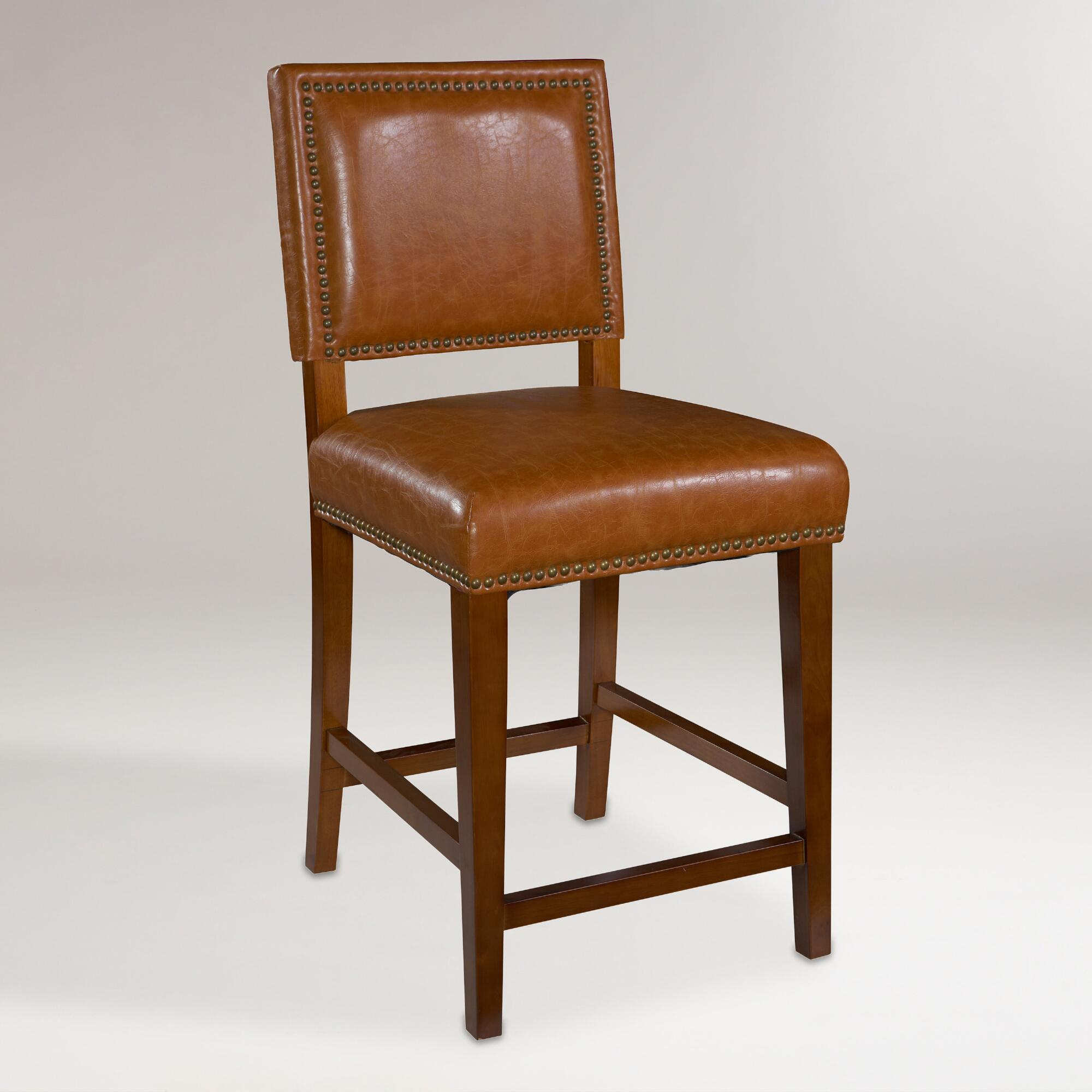 World Market Red Leather Chair: Caramel Jace Counter Stool