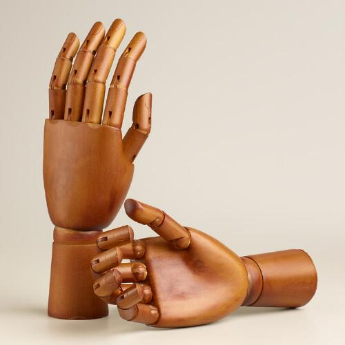 Large Moving Wooden Hands, Set of 2