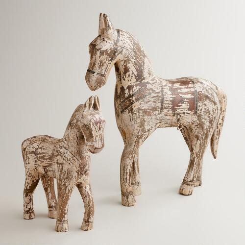 Wooden Whitewashed Horse
