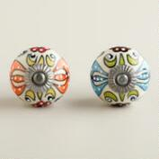 Embossed Floral Ceramic Knobs, Set of 2