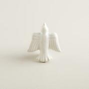 White Ceramic Bird Knobs, Set of 2