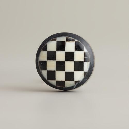 Checkered Bone Resin Knobs, Set of 2