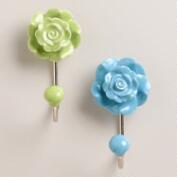 Ceramic Floral Hooks, Set of 2