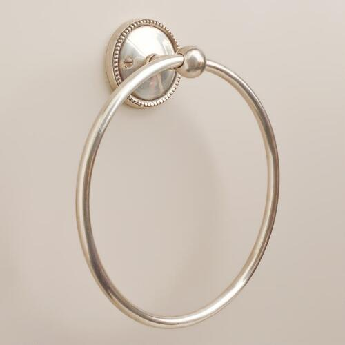 Matte Silver Beaded Towel Ring