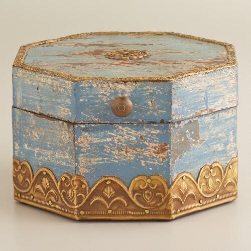 Blue Painted Hexagonal Box
