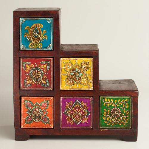 Multicolor Painted Stepped Chest
