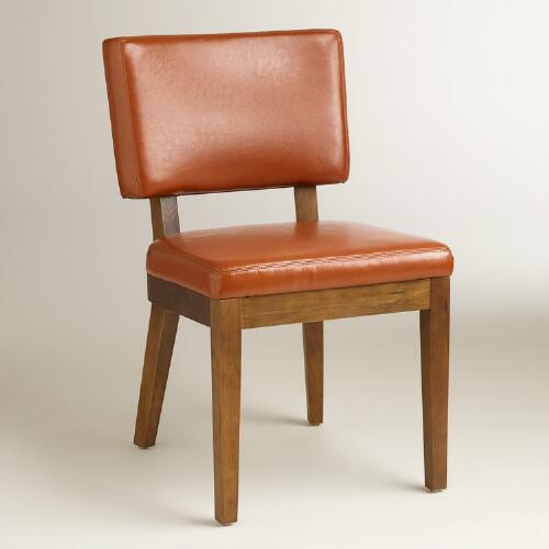 Cognac Bonded Leather Sophia Chairs, Set of 2