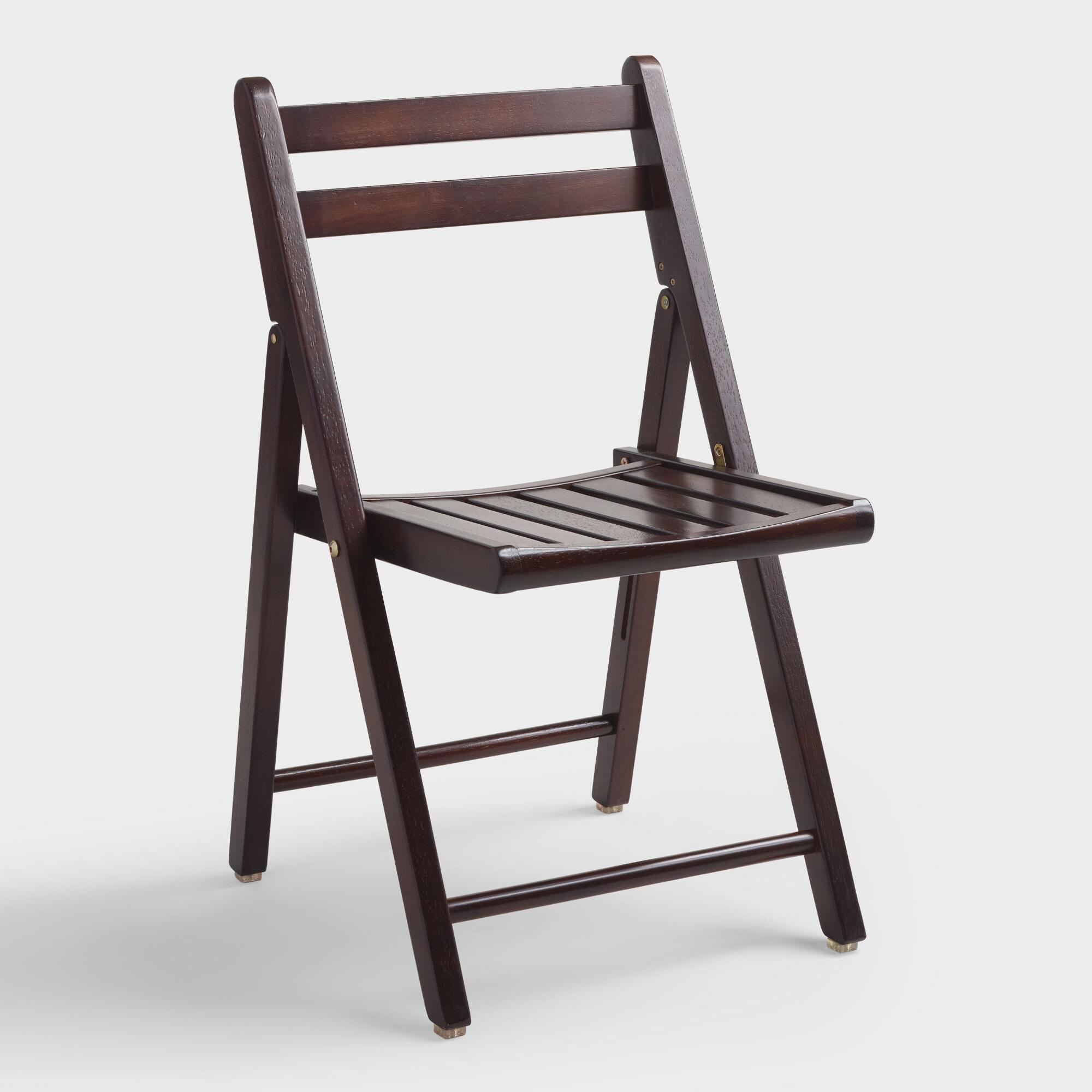 Wood Folding Chairs ~ Espresso wood folding chairs set of world market