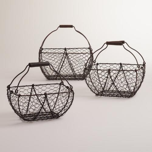 Ryan Wood Handle Metal Baskets